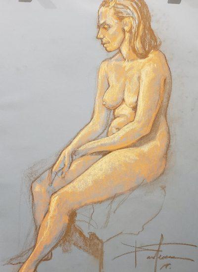 10. life draw girl nude sitting pastel