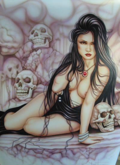109. girl with skulls