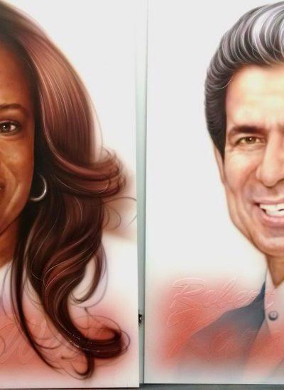 Progression of Donda and Robert tribute art