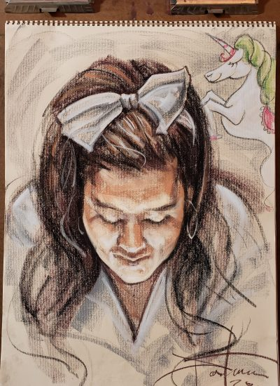 16. lifedraw girl looking down pastel
