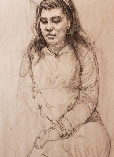 18. life draw girl sitting charcoal