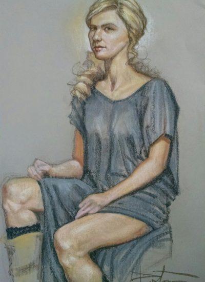 2. life draw girl sitting pastel