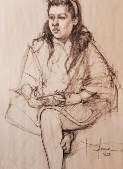 21. lifedraw girl sitting charcoal