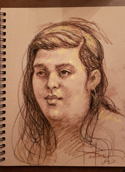 23. charcoal sketchbook girl