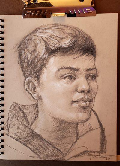 24. charcoal boy sketch