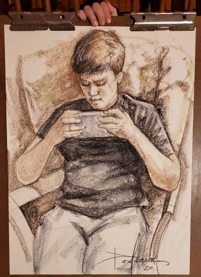 30. Boy with phone pastels