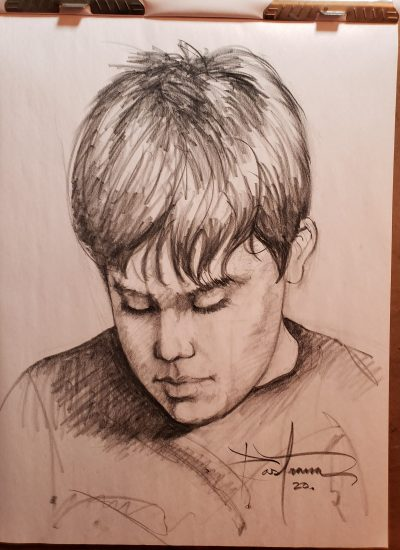 34. boy sketch charcoal