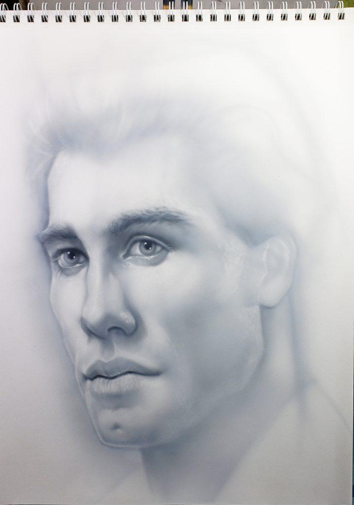 John Travolta airbrush sketch - Pastrana.Unlimited