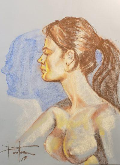 4. life draw girl profile pastel