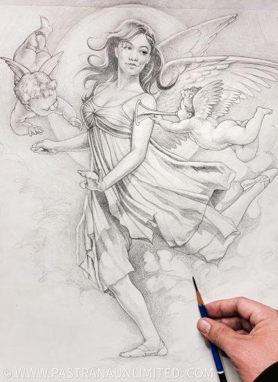 42. Angels sketch rough mock pencil