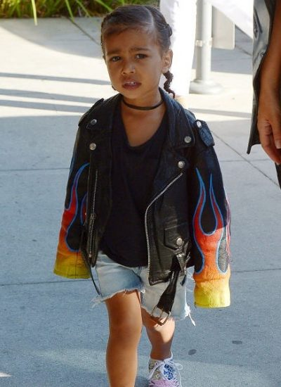 43. North West sporting Pastrana designed leather jacket