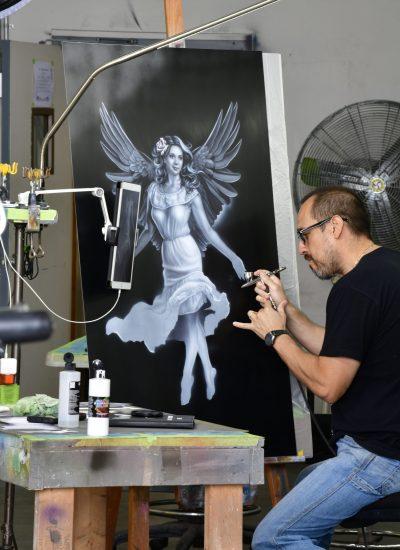 44. Working on Janice tribute art