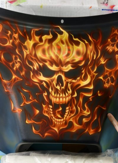 46. Skull and flames