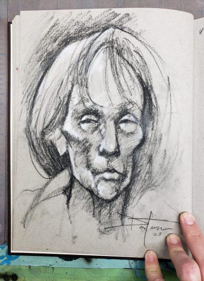 51. sketchbook drawing of older woman charcoal