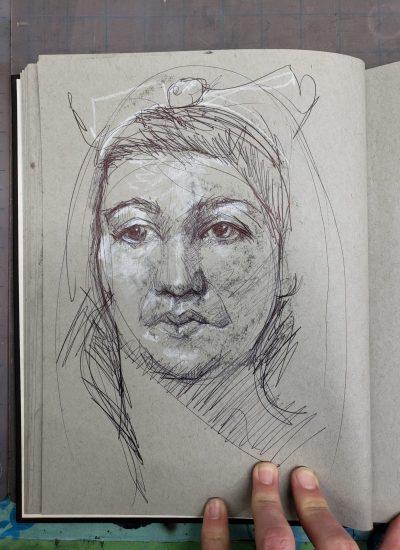 52. sketchbook pen and charcoal