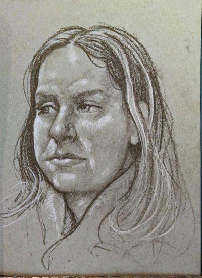 54. charcoal 3 qt portrait