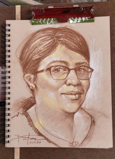 57. woman portrait charcoal