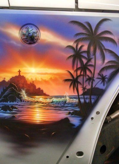 59. sunset beach scene on jeep