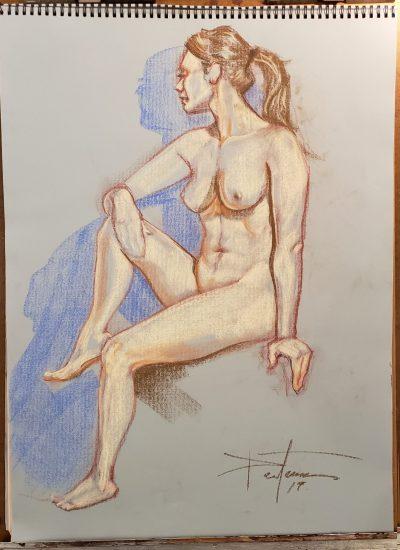 6. life draw nude girl pastel