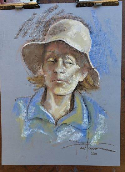 61. pastels woman with hat