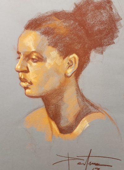 7. life draw head pastel