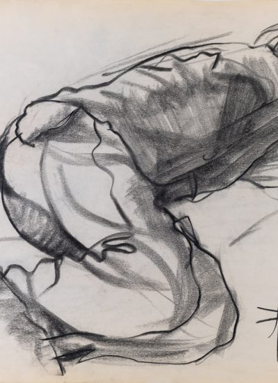 76. woman laying down charcoal