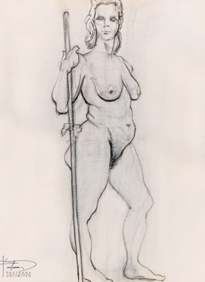 77. charcoal woman standing