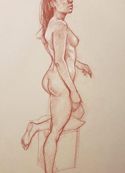 8. life draw girl standing charcoal